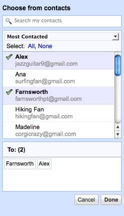 Gmail selección contactos