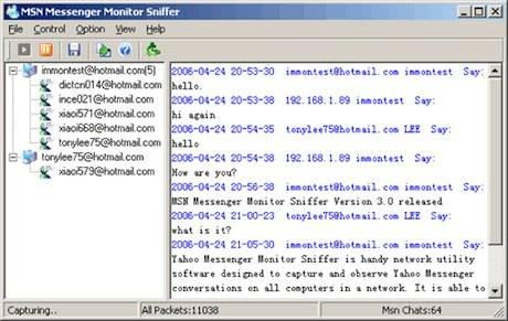 msn messenger monitor sniffer