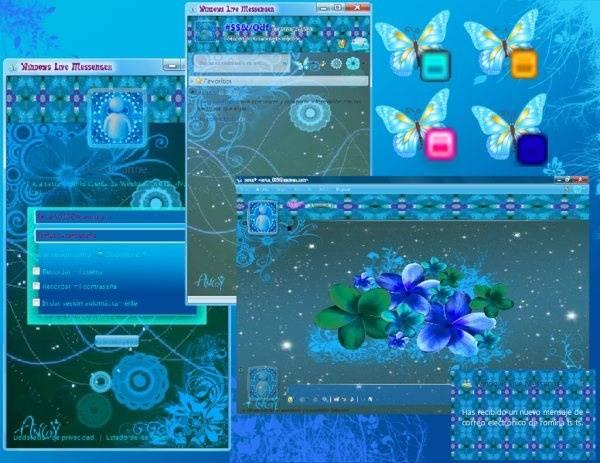 floral azul skin