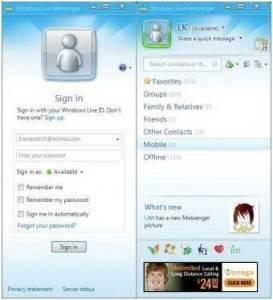 secciones múltiples del Messenger
