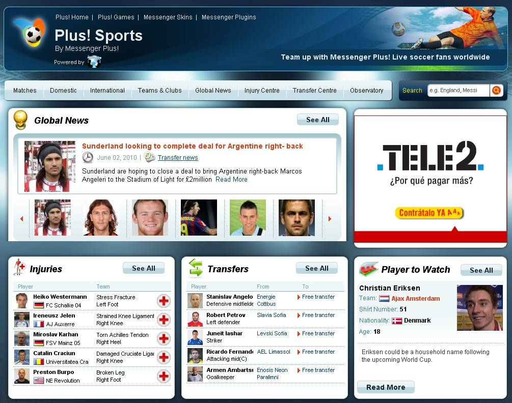 Plus! Sport, el sitio de Messenger Plus! Live para los aficionados al fútbol