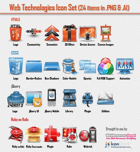 24 iconos html5 css3 y jquery