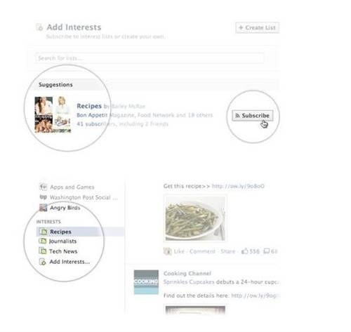 Listas de intereses de Facebook