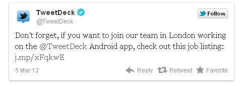 tweetDeck busca gente nueva para proyecto android