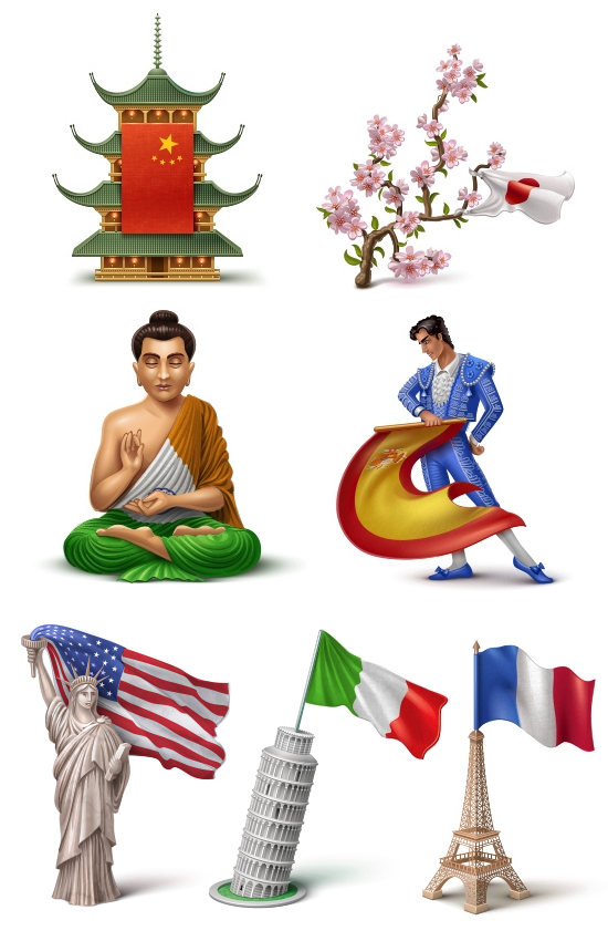 iconos diferentes paises