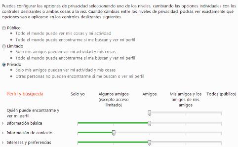 opciones de privacidad de hotmail