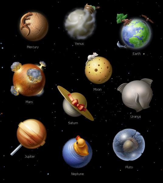 iconos del sistema solar