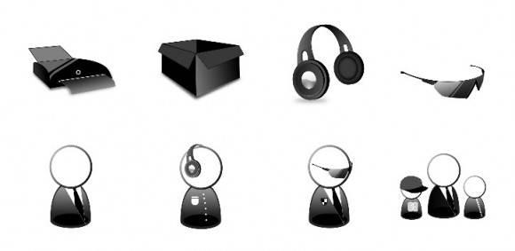 conjunto elegante de iconos negros