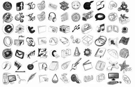 iconos en blanco y negro