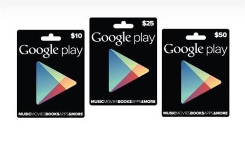 tarjetas regalo de Google Play