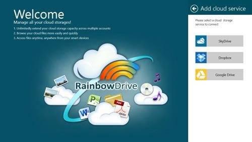 la interfaz de rainbowdrive en windows 8