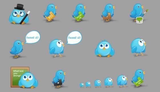 iconos pajaro twitter