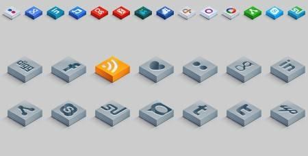 iconos sociales 3d