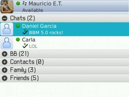 La interfaz BlackBerry Messenger