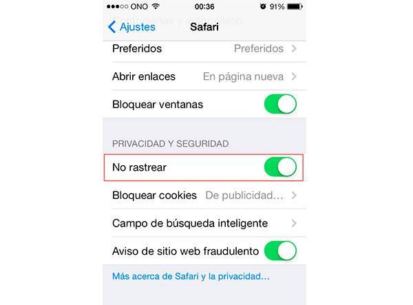 Configura Safari en iOS 7