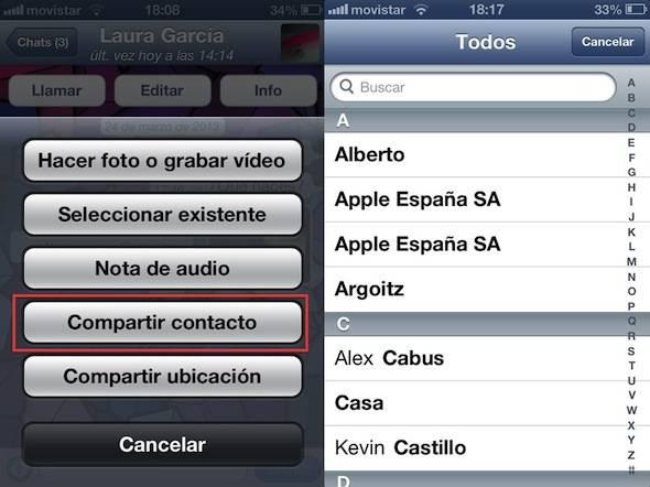 Compartir contactos WhatsApp 2