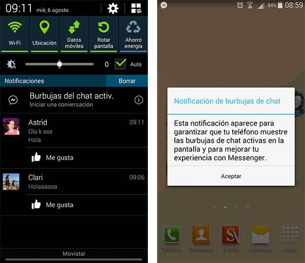 Facebook Messenger notificaciones