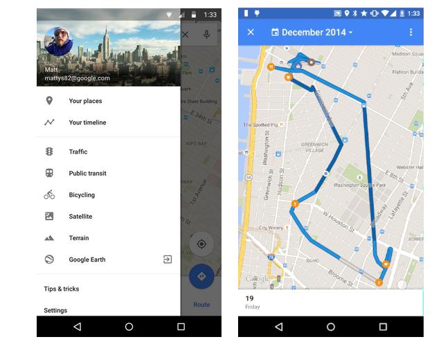 your time line en Google maps