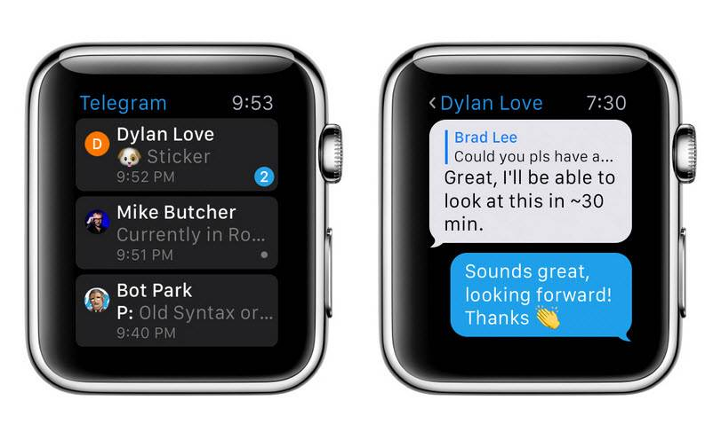 telegram para el apple watch