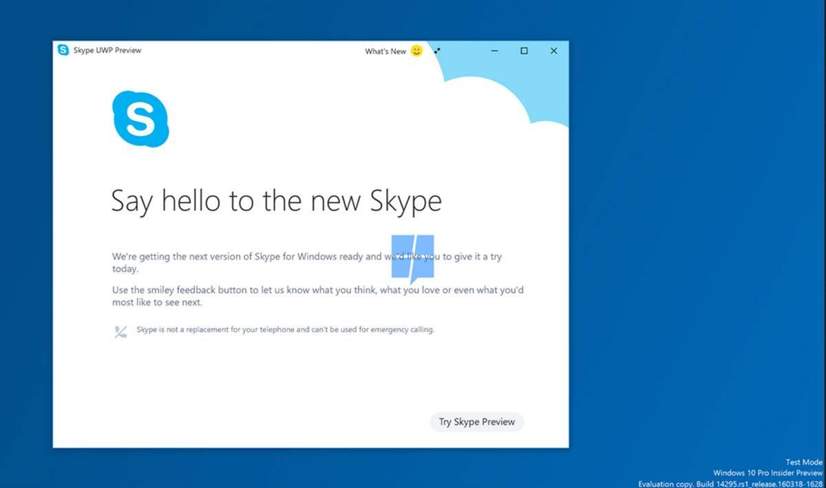 app universal de skype